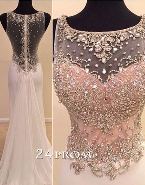 Charming round neckline A-line Chiffon Long Prom Dresses, Formal Dress - 24prom