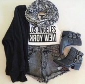 scarf,grey and white scarf,infinity,knitted scarf,los angeles,new york city,white tee,acid washed shorts,black,shorts,studded shorts,cardigan,boo,sweater,shirt