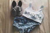 shoes,grey,shorts,whatever,shirt,hipster,cute,tank top,pants,denim shorts,crop tops,black,white,phrase,sign,crop,top,shorts top shoes