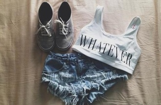 shoes grey shorts whatever shirt hipster cute tank top pants denim shorts crop tops black white top phrase sign crop shorts top shoes bra jeans ripped stone wash underwear damaged denim fashion gloves vans outfit sports bra skirt ripped shorts
