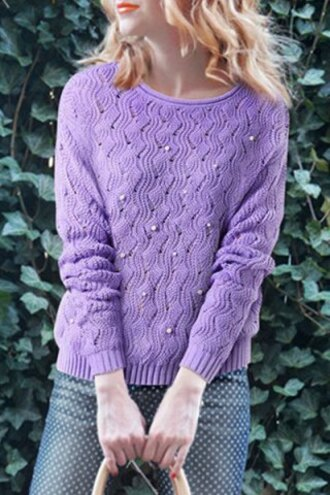 sweater purple lilac fashion style knitwear chic round neck beaded hollow long sleeve sweater for women fall outfits cool