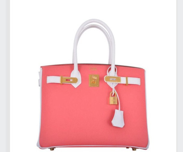 bag peach leather solid