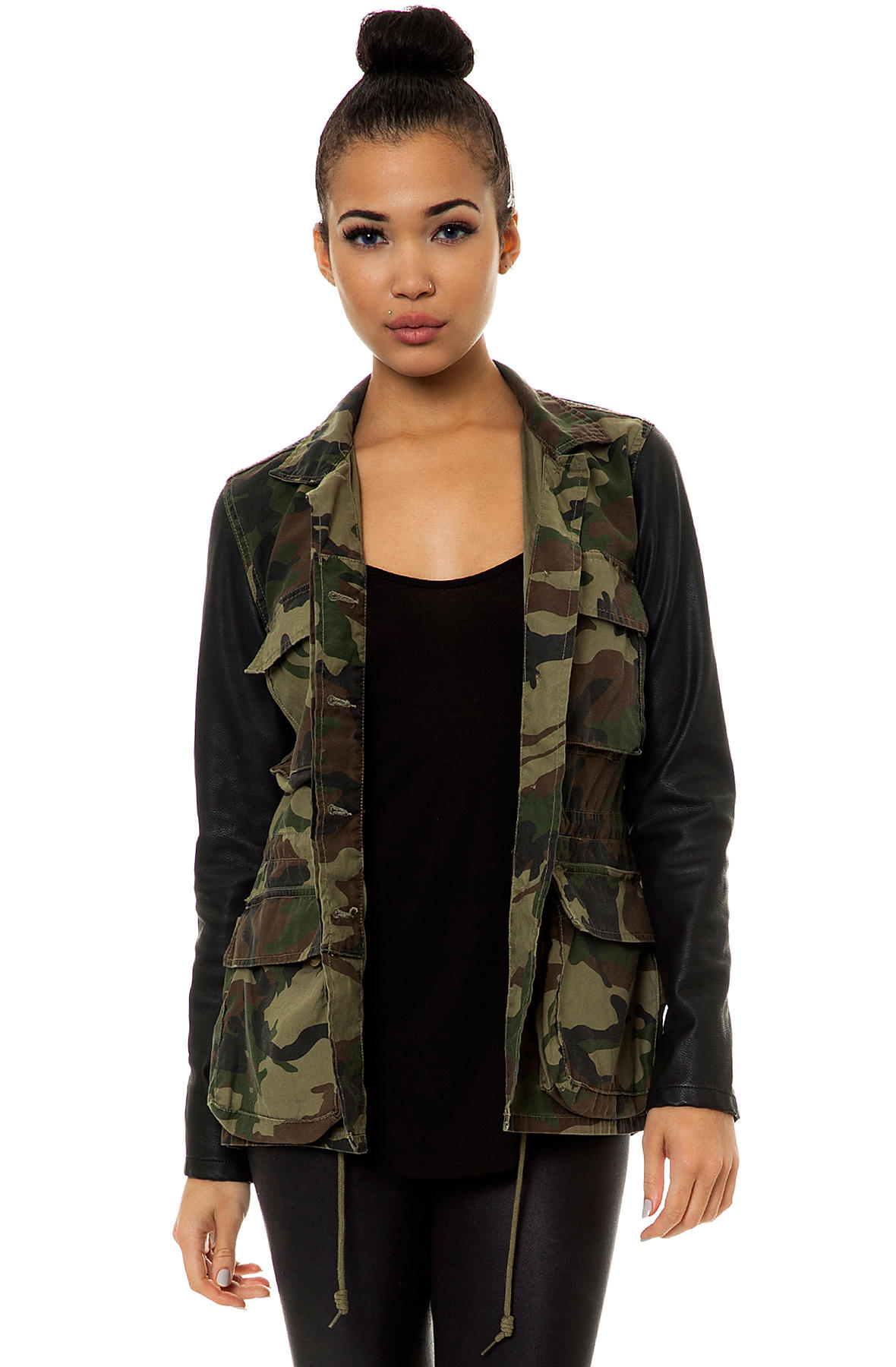 Obey Contrast Sleeve Jacket Hartman M65 in Field Camo