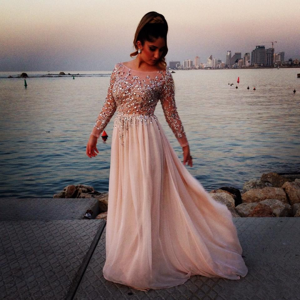 Elie Saab Sheer 2014 Evening Dresses Beads A Line Sheer Scoop Neck Long Sleeves Floor Length Chiffon Formal Celebrity Prom Gowns-in Prom Dresses from Apparel & Accessories on Aliexpress.com | Alibaba Group