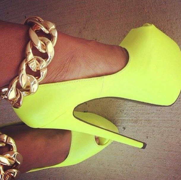 Shoes: high heels, lime, aliexpress, neon yellow, sexy, neon, neon ...