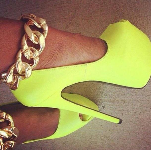 shoes high heels lime aliexpress neon yellow sexy yellow heels gold chain neon cute high heels yellow gold chain gold jewelry neon yellow heels gold sheos heels pumps stilettos killer heels high heels hot jewels platform shoes blackheels