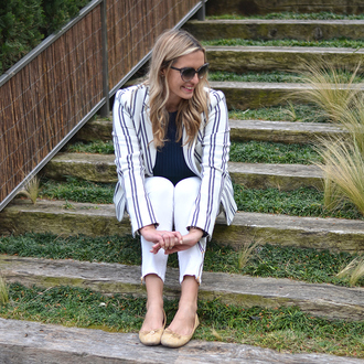 camila carril blogger striped jacket ballet flats white pants classy
