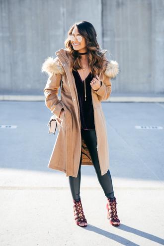 hauteofftherack blogger coat shoes bag tank top leggings sunglasses jewels winter outfits beige coat high heels boots lace up heels choker necklace black choker black velvet choker necklace
