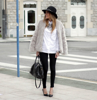 rebel attitude blogger coat bag shirt shoes hat white shirt statement necklace faux fur jacket