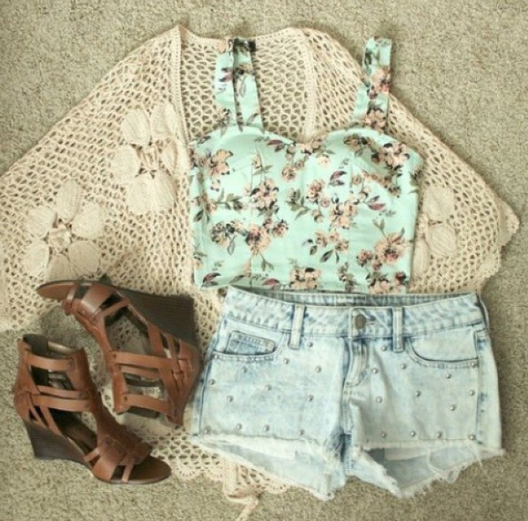 shorts shoes summer outfits beach hipster top crop tops cute boho girly cardigan fashion