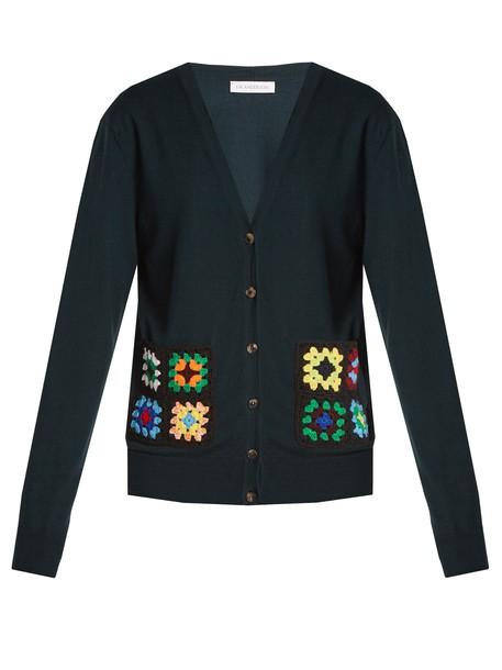 J.W.Anderson cardigan cardigan wool crochet green sweater