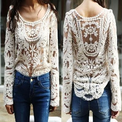 Fashion New Women's Semi Sheer Sleeve Hollow Top Sexy Lace Floral Crochet Blouse Embroidery Shirt For Lady Free shipping T8048-inBlouses & Shirts from Apparel & Accessories on Aliexpress.com