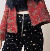 pants,moon,velvet,stars,black velvet pants