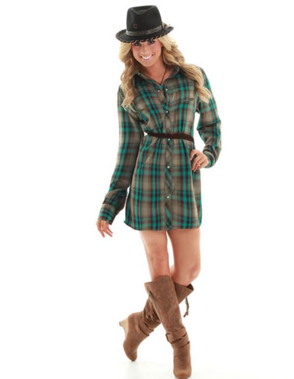 dress plaid belt cowgirl scarf shorts shoes