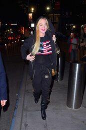 pants,hoodie,sweatpants,lindsay lohan,streetstyle,jacket
