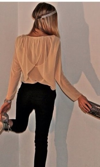 blouse style and colour peach blouse black pants sheer