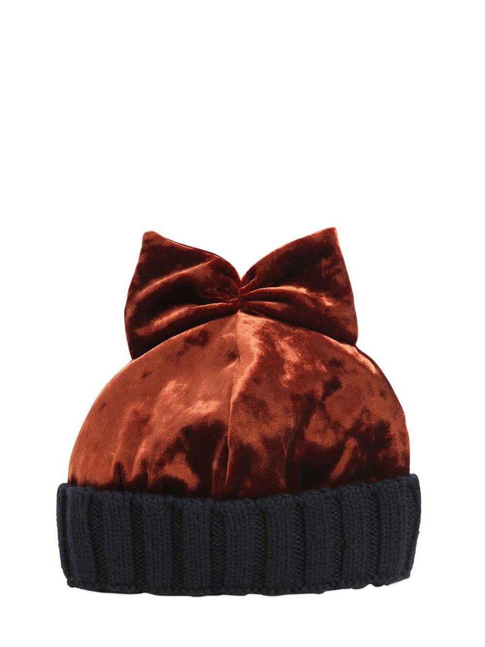 FEDERICA MORETTI Velvet & Wool Knit Beanie Hat W/ Bow in blue