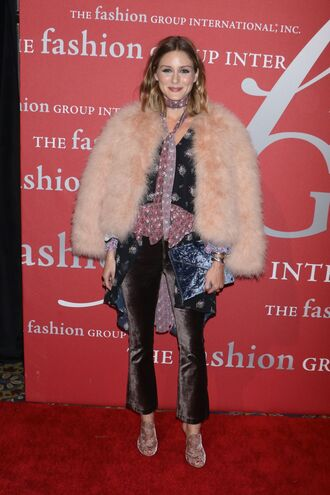 pants velvet olivia palermo mules fall outfits fur jacket blogger blouse top shoes