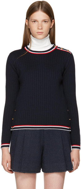 Thom Browne pullover navy sweater