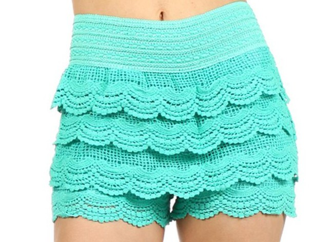 Shorts Lace Crochet Shorts Lace Shorts Mint Shorts Wheretoget