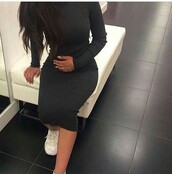 dress,clothes,grey,grey dress,black,black dress,long sleeves,long sleeve dress,bodycon,bodycon dress,turtleneck,turtleneck dress,midi,midi dress,party dress,spring dress,spring outfits,fall dress,fall outfits,winter dress,winter outfits,cute dress,girly dress,holiday dress,date outfit,birthday dress,clubwear,club dress,homecoming,homecoming dress,wedding clothes,wedding guest,tumblr outfit