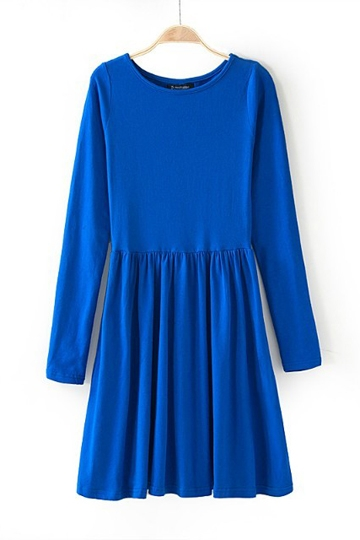 Candy Color Round-neck Frilly Basic Dress [FXBI00396]- US$22.99 - PersunMall.com