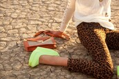 shoes,yellow,neon yellow,heels,pants,wedges,leopard print,lime