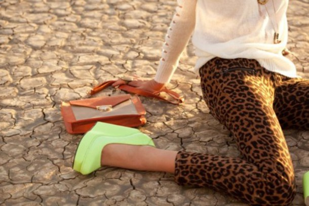 shoes yellow neon yellow heels pants wedges leopard print lime