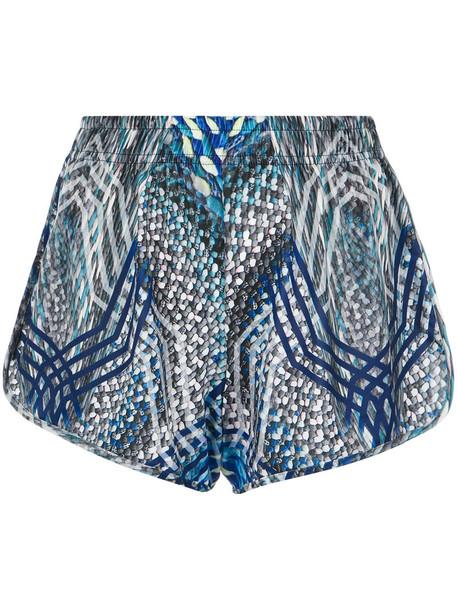 shorts printed shorts women spandex blue