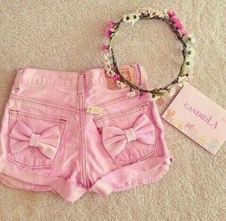 bows shorts pink