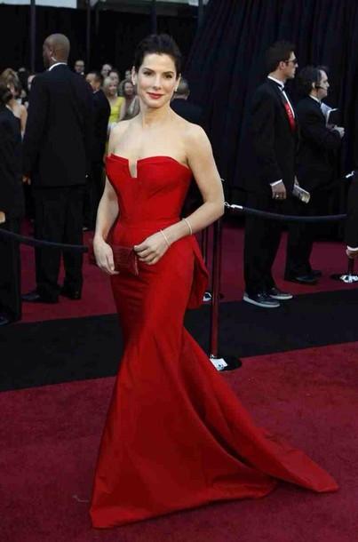 dress sandra bullock red dress