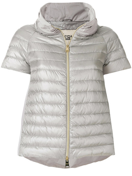 Herno jacket down jacket cropped women grey