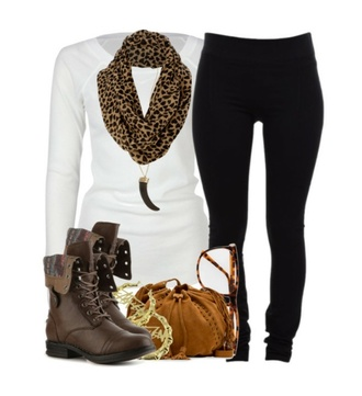 combat boots cheetah scarf white long sleeve