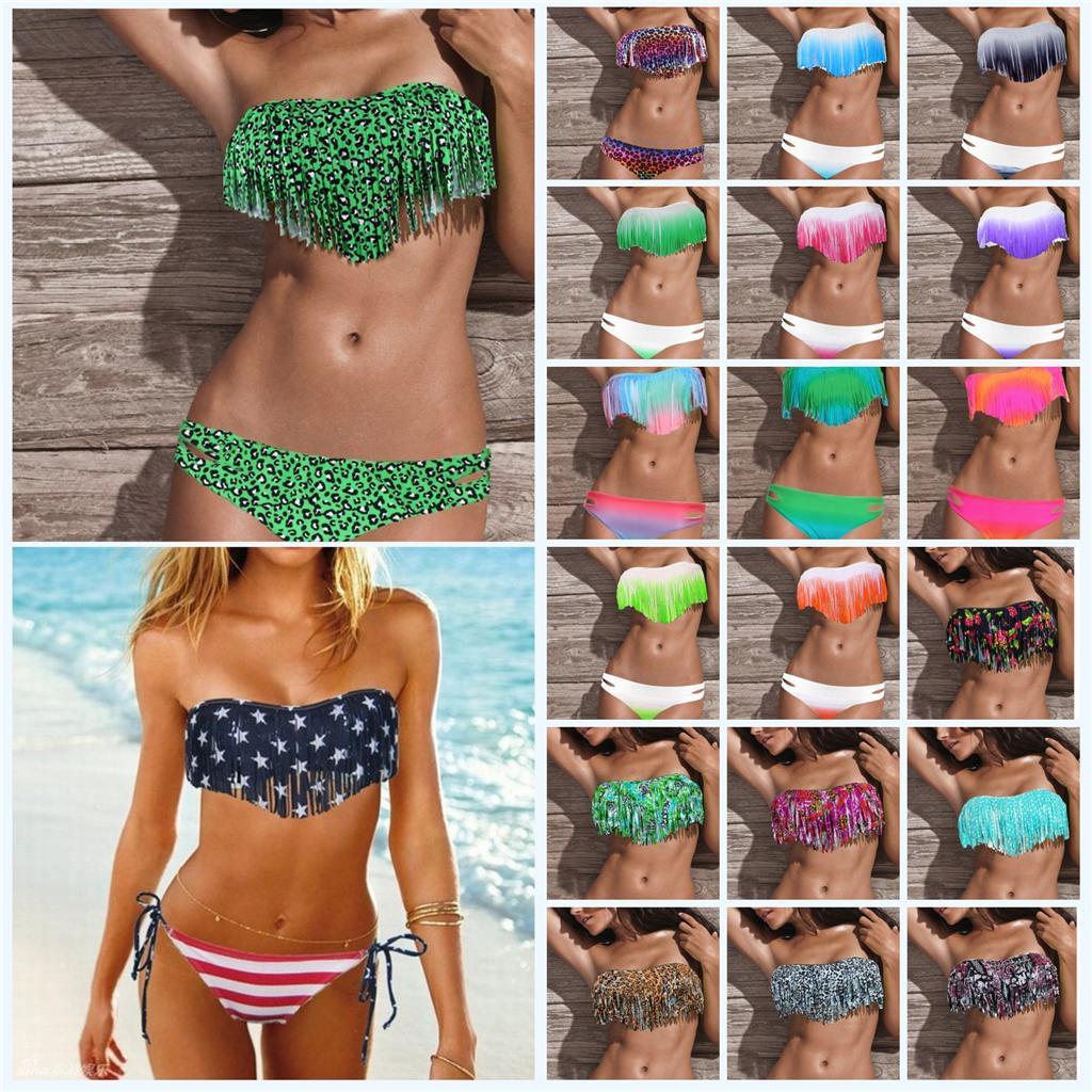 2 Pcs Womens Tassel Pad Bandeau Fringe Top Bikini Bottom Swimsuit Swimwear s M L | eBay