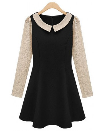 Indressme | Lapel Black Woolen Dress  style 03-0201102 only $40.00 .