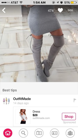 shoes grey thigh high boots