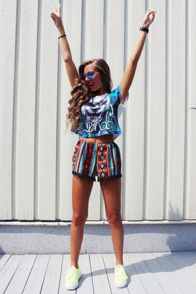 top sunglasses vintage High waisted shorts crop tops shorts vans neon african print pom pom shorts cats print t-shirt