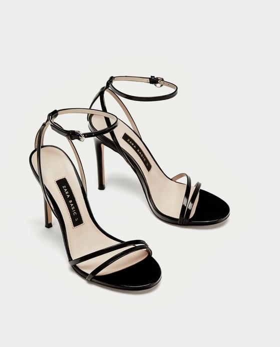 Zapatos Charol Tiras Tacón España Sandalia Sandalias MujerZara kZXiPu