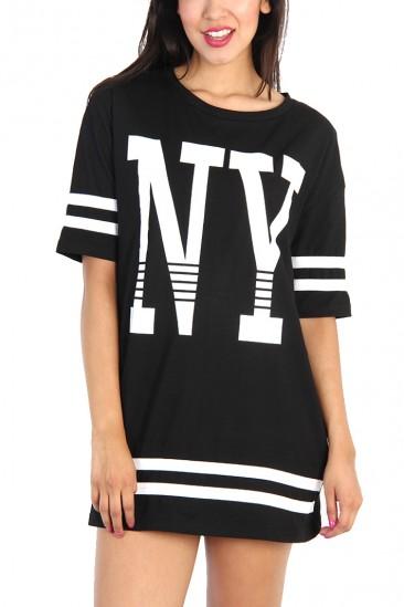 OMG NY Print Boxy Football Shirt - Black