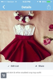 dress,red,skirt,bustier,top,white bustier
