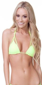 swimwear,bikini top,bikini,neon,green,yellow,knotted,neon yellow