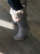 shoes,fur,boots,heels,high heels boots,grey boots
