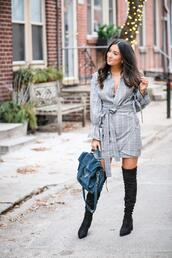 the material girl,blogger,dress,shoes,bag,boots,over the knee boots,grey dress,spring outfits