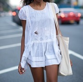 dress,white,lace,romper,white romper,white dress,lace dress,tumblr,summer,bag,city,like,love this,beach,frock,festival,classy,feminine,short dress,jacket