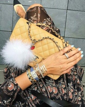 bag tumblr yellow bag fur keychain stacked bracelets bracelets ring watch chanel chanel bag