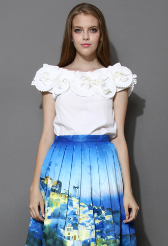 blouse opera flowers white crepe top