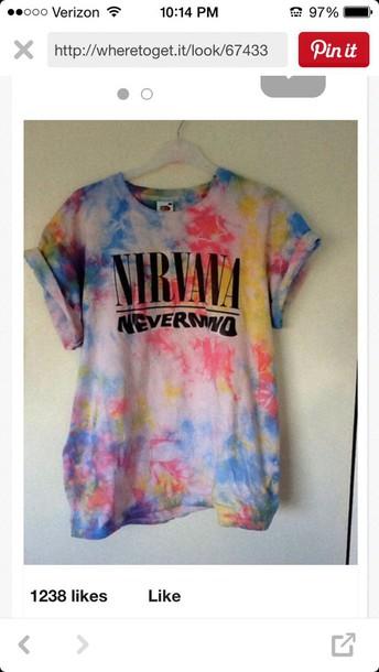 shirt nirvana t-shirt tie dye shirt band t-shirt