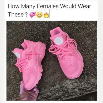 shoes nikes huaraches nike pink shoes