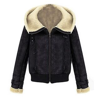 black coat black jacket www.ustrendy.com fleece lined jacket fleece lined coat buckle detail hooded coat lapel jacket hooded jacket