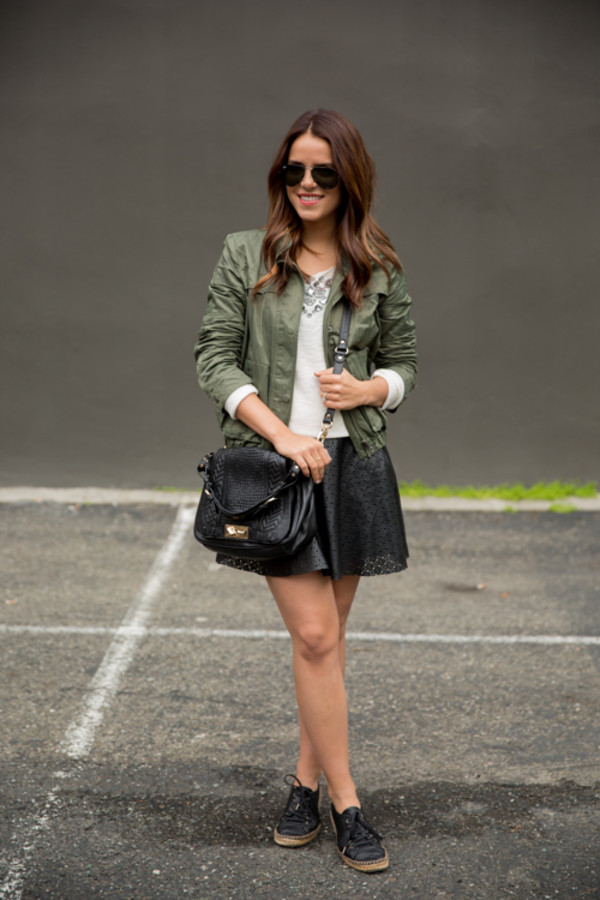 gal meets glam jacket sweater skirt bag shoes sunglasses